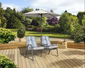 Roma Cushioned Range Companion Bench with Parasol